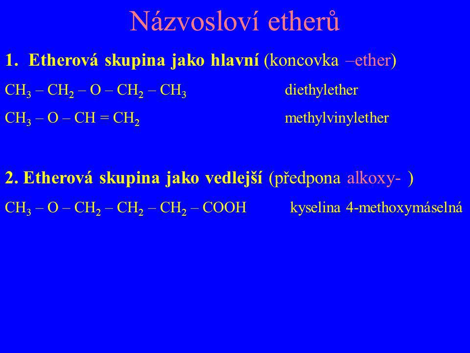 Názvosloví etherů Etherová skupina jako hlavní (koncovka –ether)