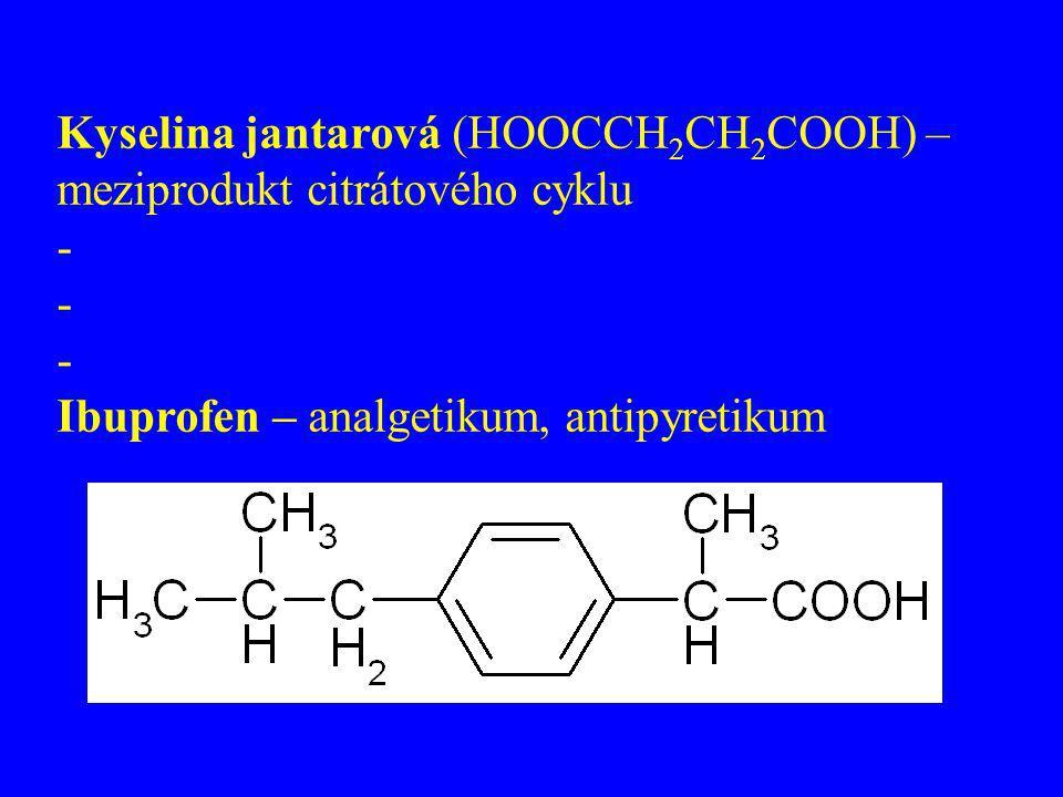 Kyselina jantarová (HOOCCH2CH2COOH) –meziprodukt citrátového cyklu
