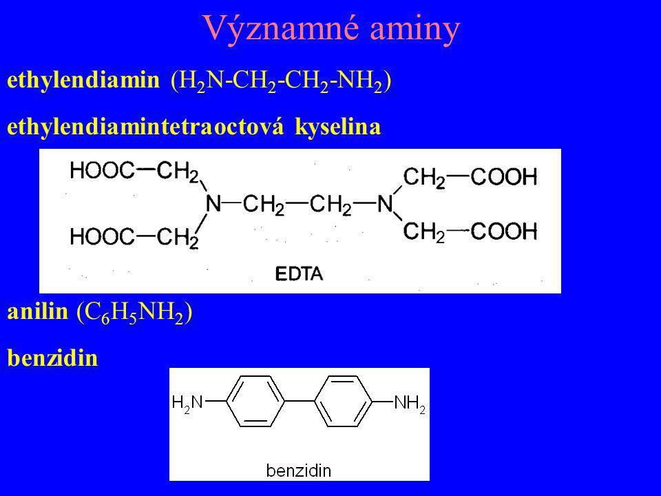 Významné aminy ethylendiamin (H2N-CH2-CH2-NH2)