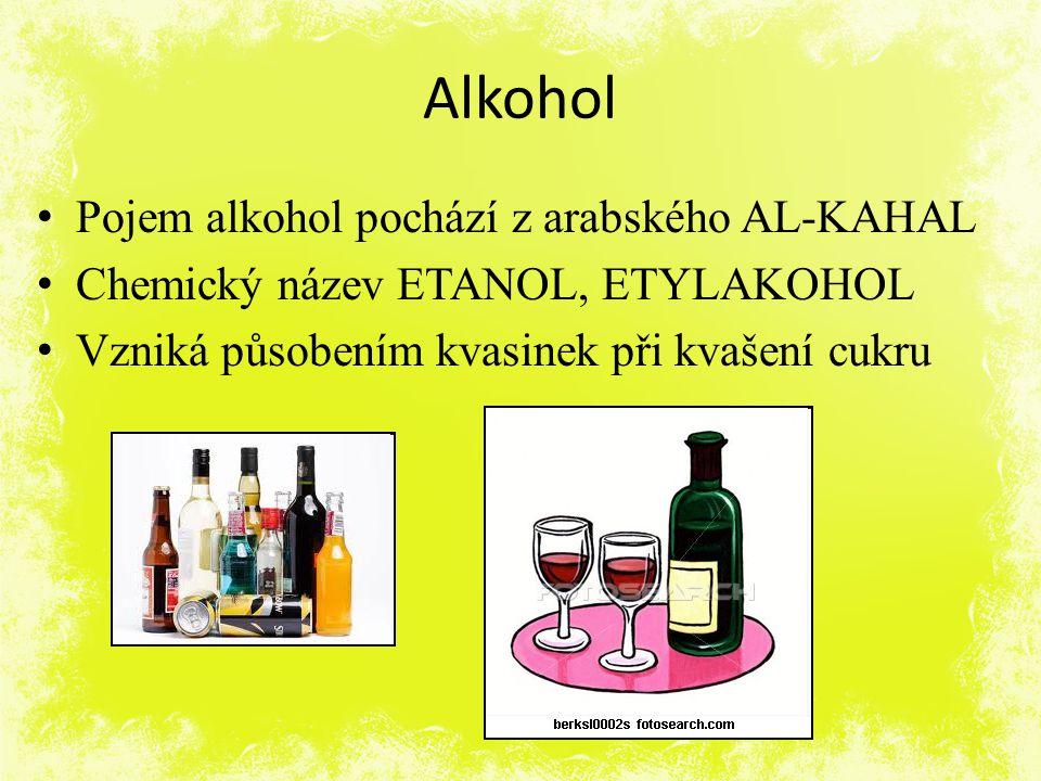 Alkohol Pojem alkohol pochází z arabského AL-KAHAL