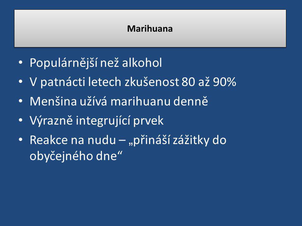 Populárnější než alkohol V patnácti letech zkušenost 80 až 90%