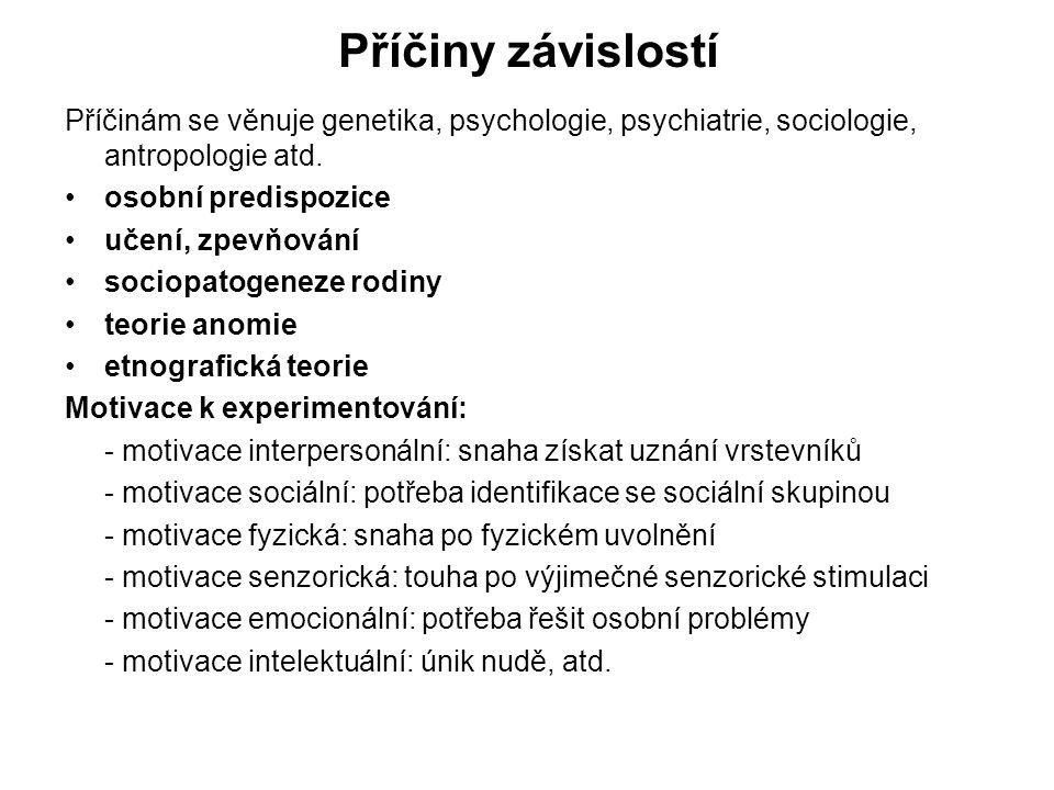 Příčiny závislostí Příčinám se věnuje genetika, psychologie, psychiatrie, sociologie, antropologie atd.