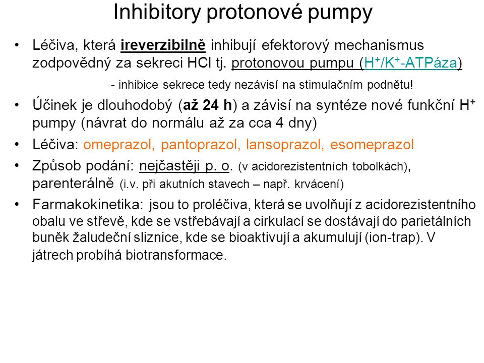 Inhibitory protonové pumpy