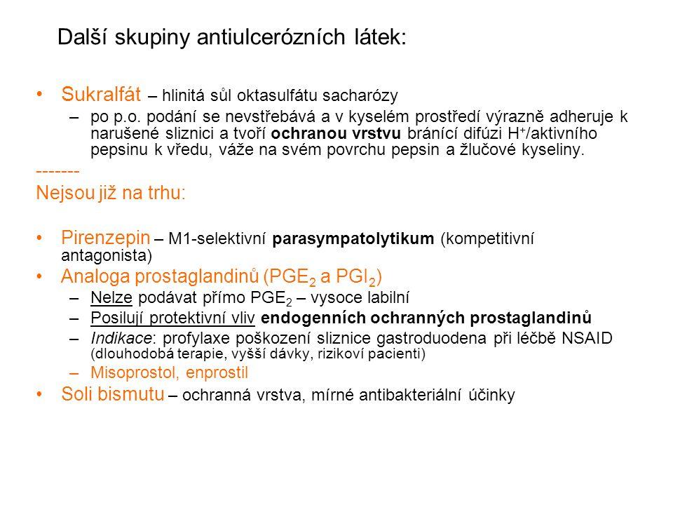 Další skupiny antiulcerózních látek: