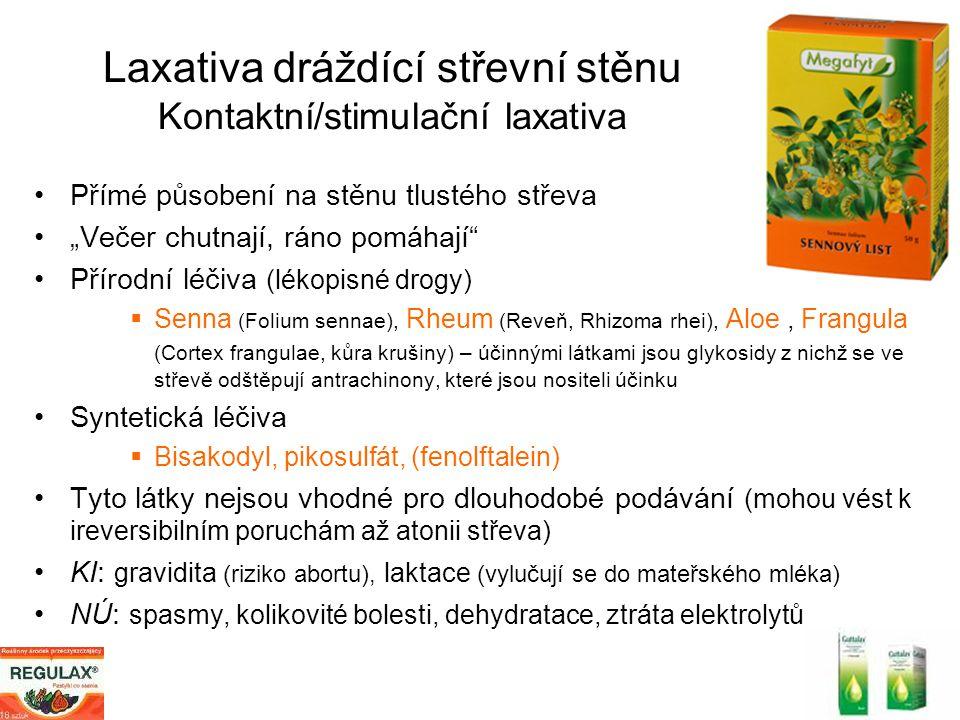 Laxativa dráždící střevní stěnu Kontaktní/stimulační laxativa