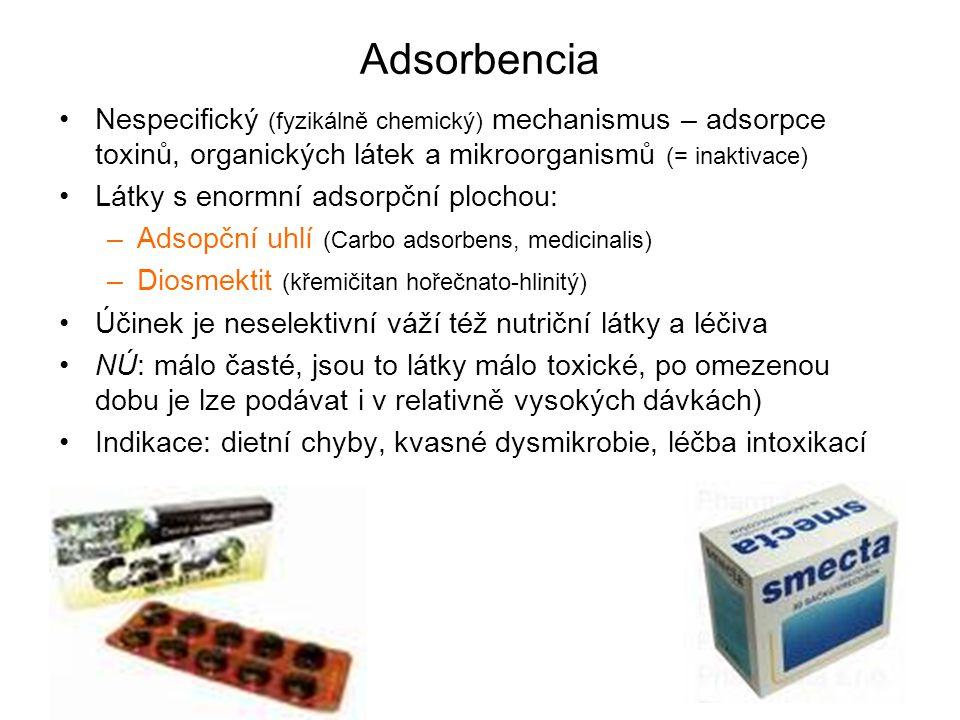 Adsorbencia Nespecifický (fyzikálně chemický) mechanismus – adsorpce toxinů, organických látek a mikroorganismů (= inaktivace)