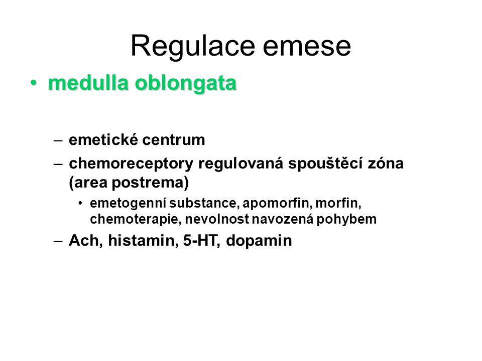 Regulace emese medulla oblongata emetické centrum