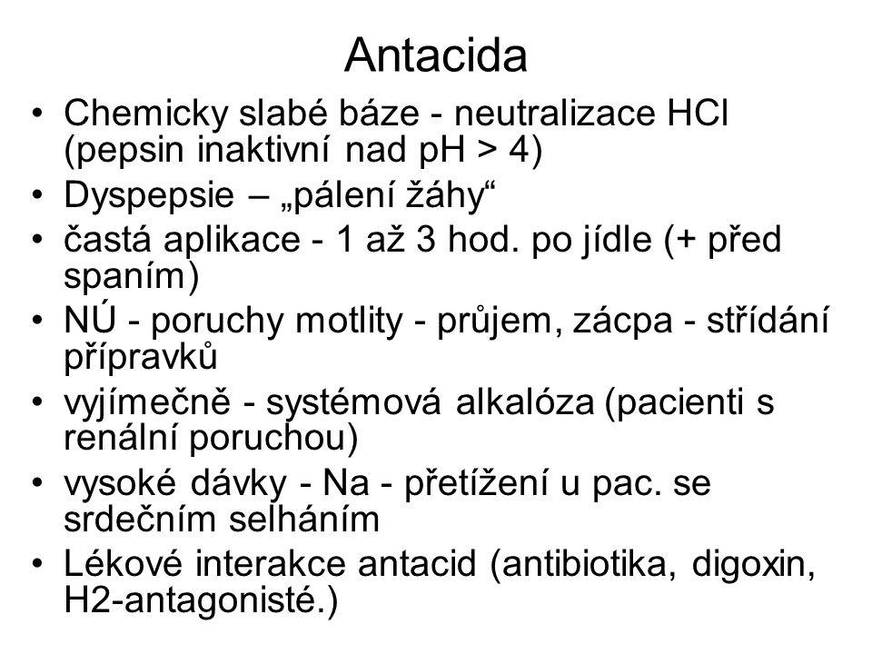 """Antacida Chemicky slabé báze - neutralizace HCl (pepsin inaktivní nad pH > 4) Dyspepsie – """"pálení žáhy"""