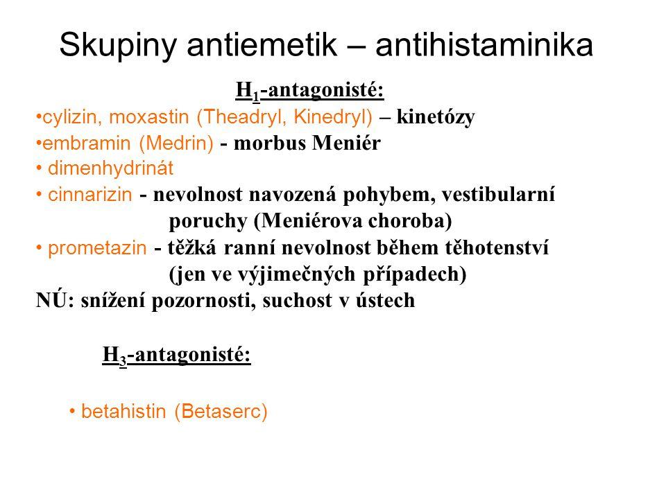 Skupiny antiemetik – antihistaminika