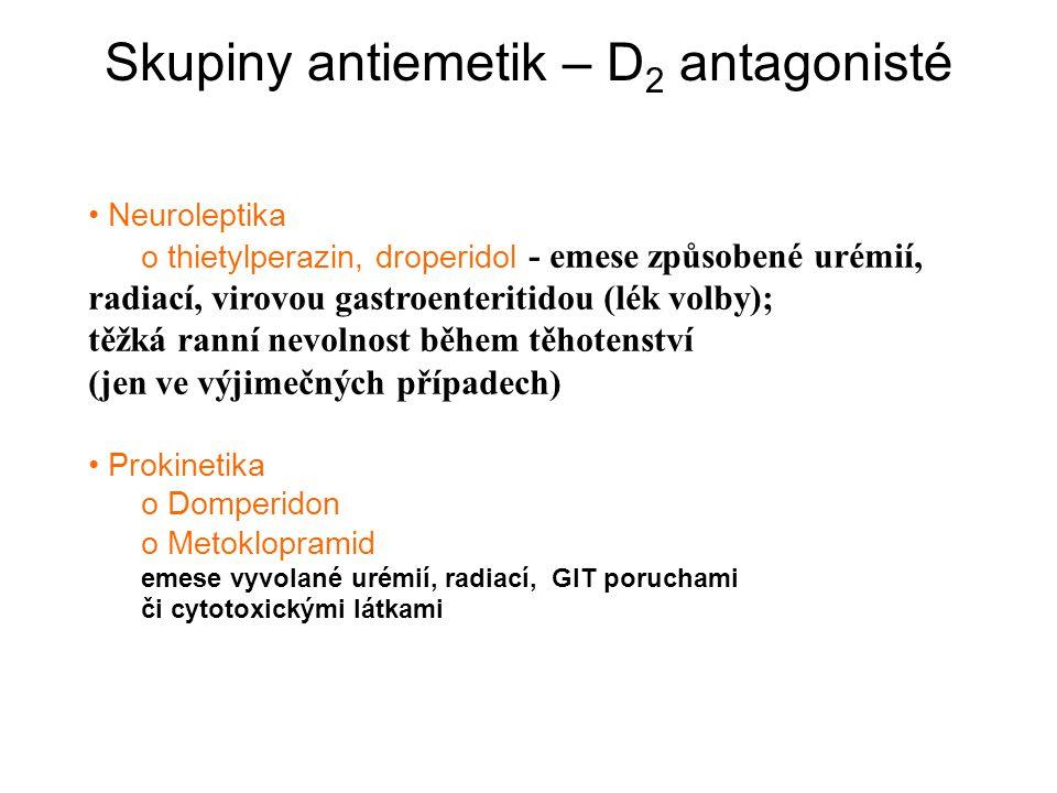 Skupiny antiemetik – D2 antagonisté