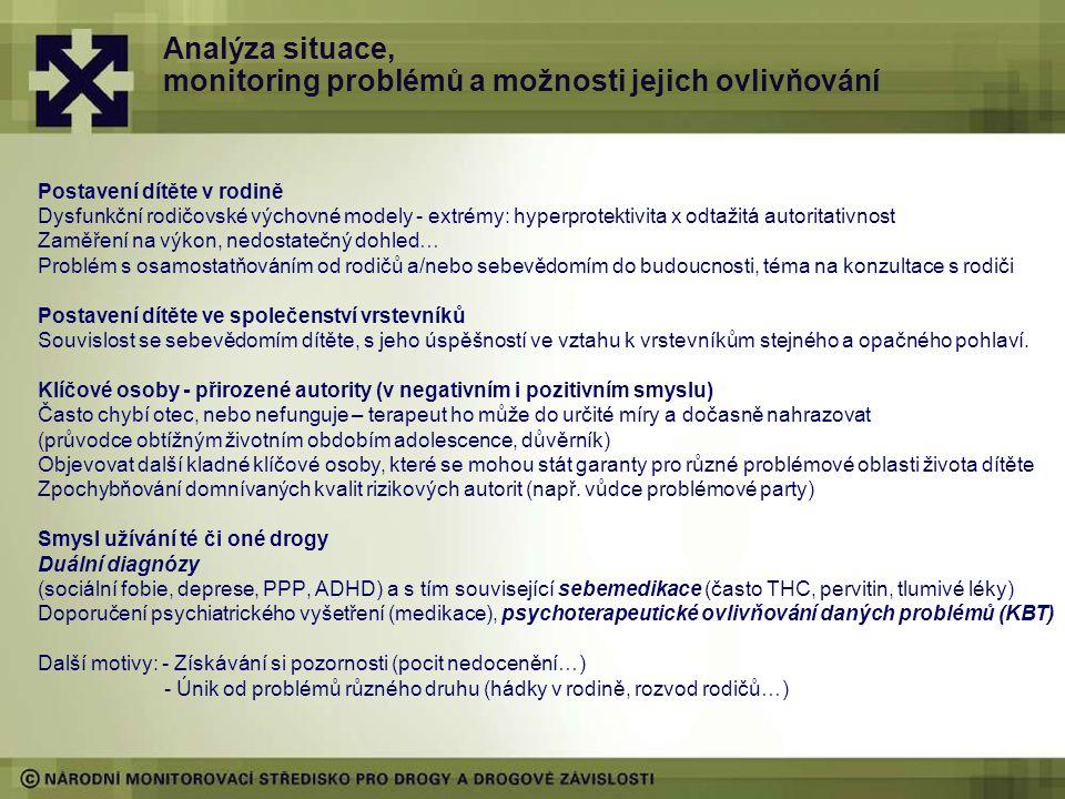 Analýza situace, monitoring problémů a možnosti jejich ovlivňování