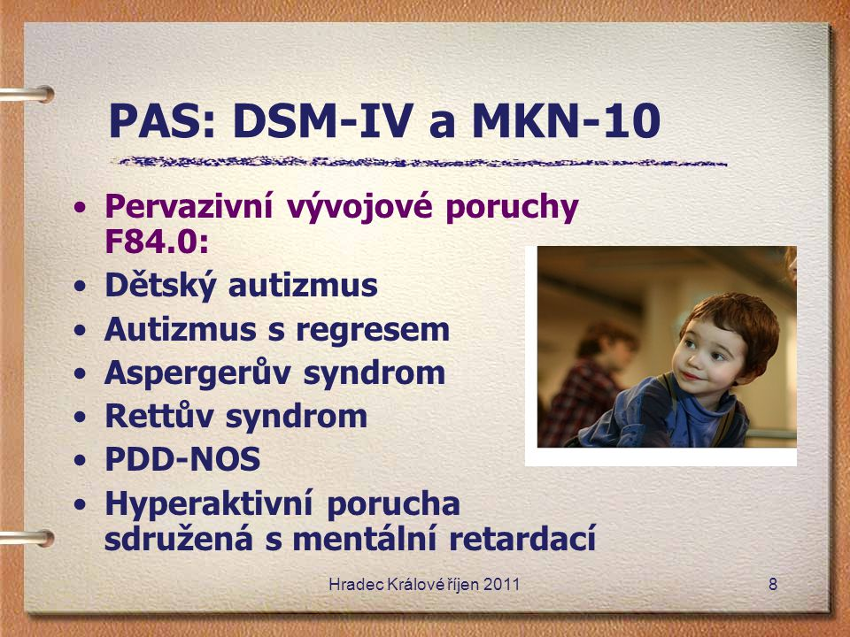 PAS: DSM-IV a MKN-10 Pervazivní vývojové poruchy F84.0:
