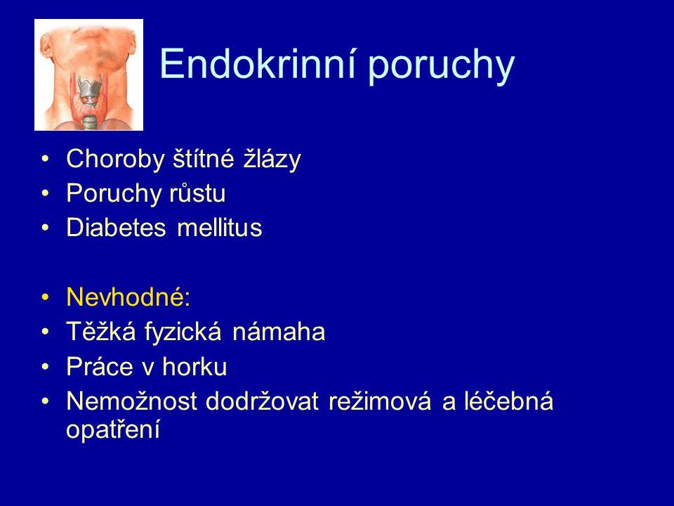Endokrinní poruchy Choroby štítné žlázy Poruchy růstu