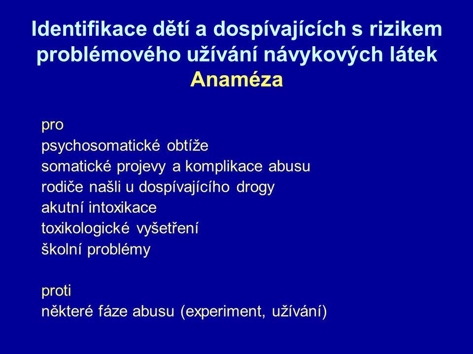 Identifikace dětí a dospívajících s rizikem problémového užívání návykových látek Anaméza