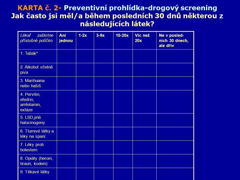KARTA č. 2- Preventivní prohlídka-drogový screening Jak často jsi měl/a během posledních 30 dnů některou z následujících látek