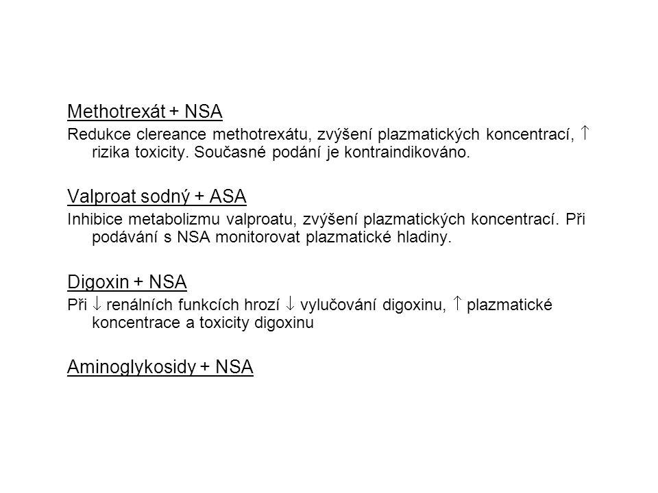 Methotrexát + NSA Valproat sodný + ASA Digoxin + NSA