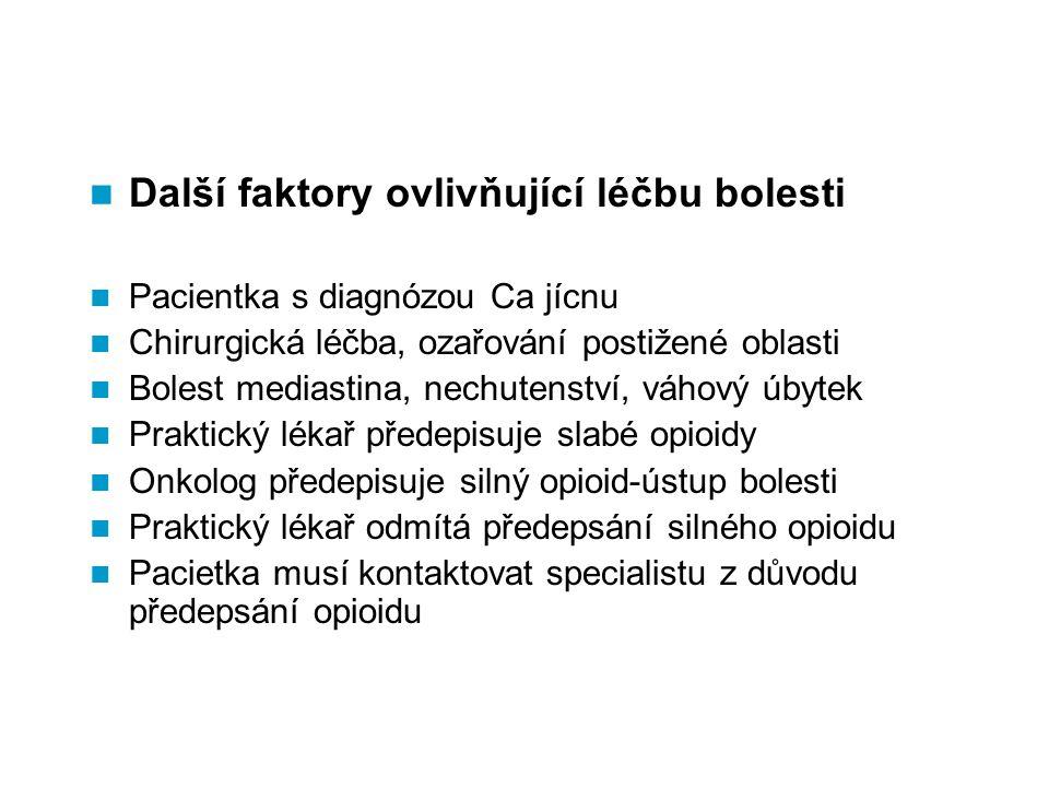 Další faktory ovlivňující léčbu bolesti