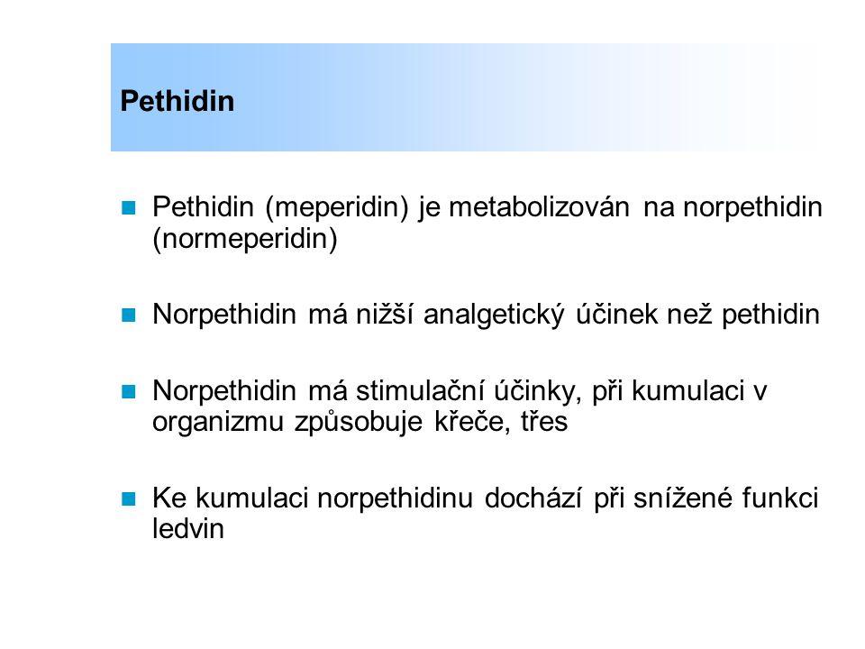Pethidin Pethidin (meperidin) je metabolizován na norpethidin (normeperidin) Norpethidin má nižší analgetický účinek než pethidin.