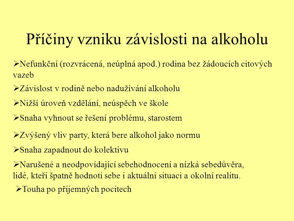 Příčiny vzniku závislosti na alkoholu