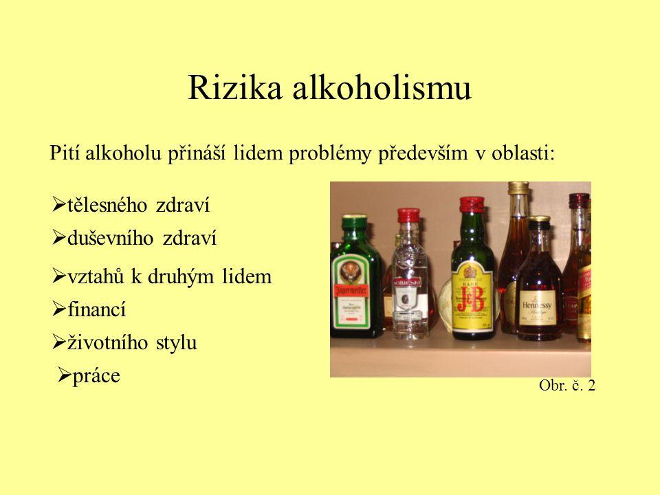Rizika alkoholismu Pití alkoholu přináší lidem problémy především v oblasti: Obr. č. 2. tělesného zdraví.
