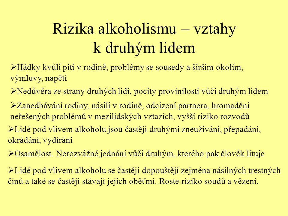 Rizika alkoholismu – vztahy k druhým lidem