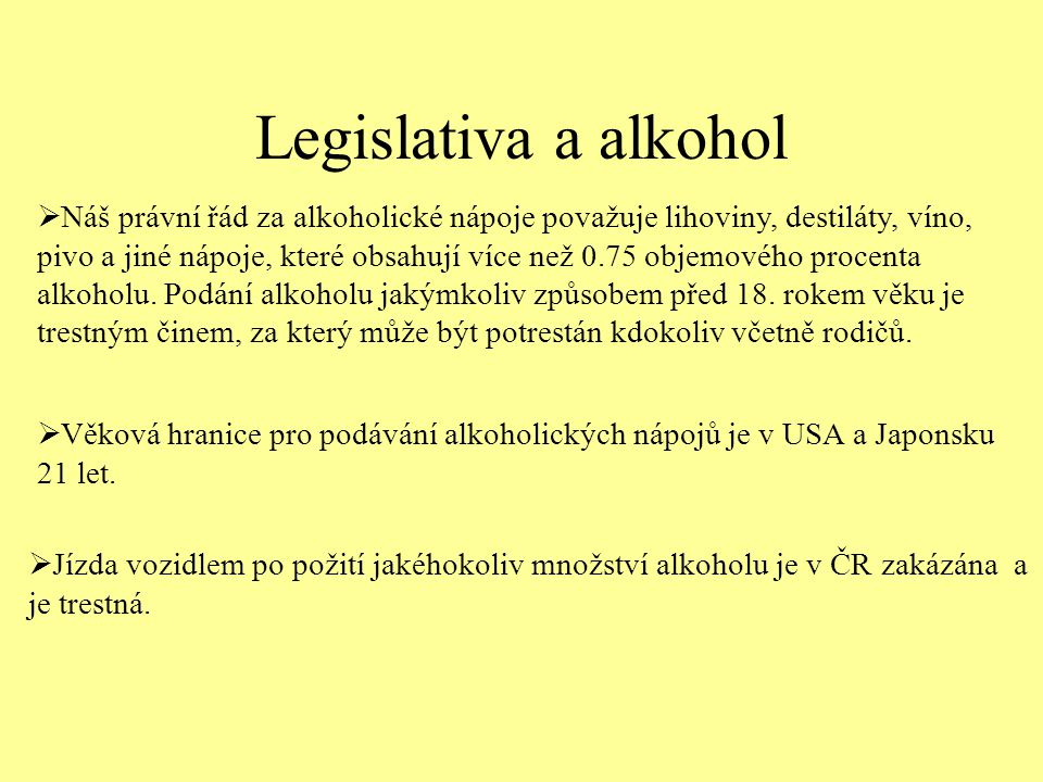 Legislativa a alkohol