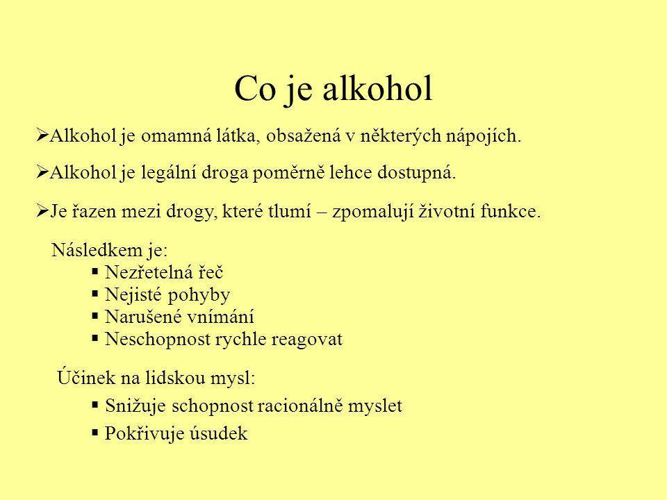 Co je alkohol Alkohol je omamná látka, obsažená v některých nápojích.
