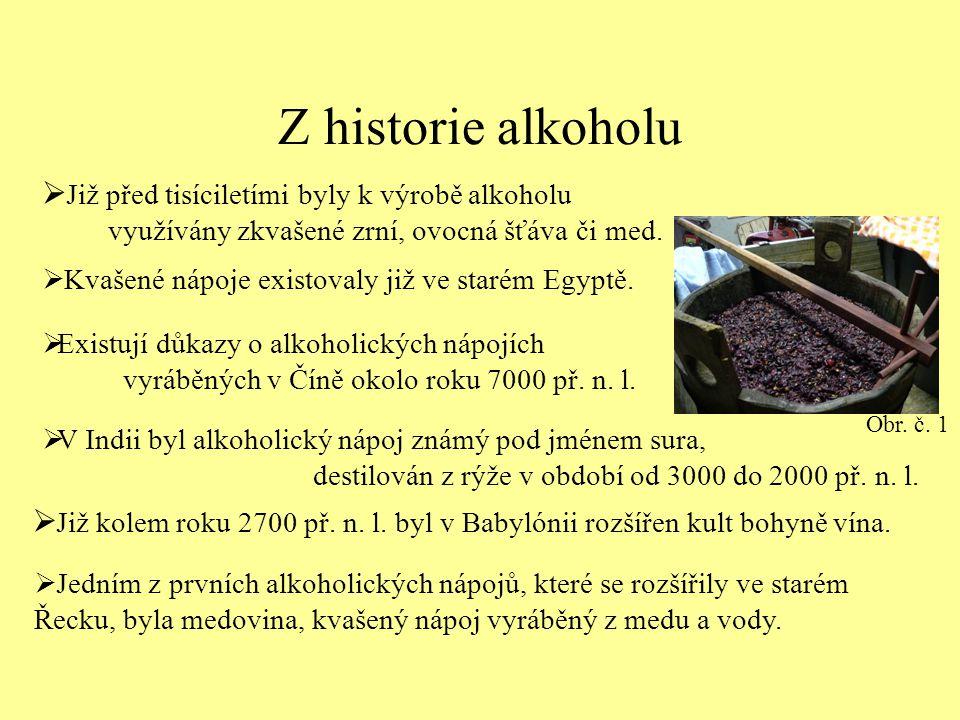 Z historie alkoholu Již před tisíciletími byly k výrobě alkoholu