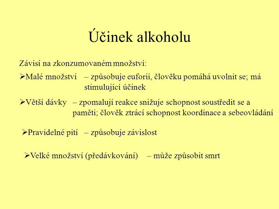 Účinek alkoholu Závisí na zkonzumovaném množství: Malé množství