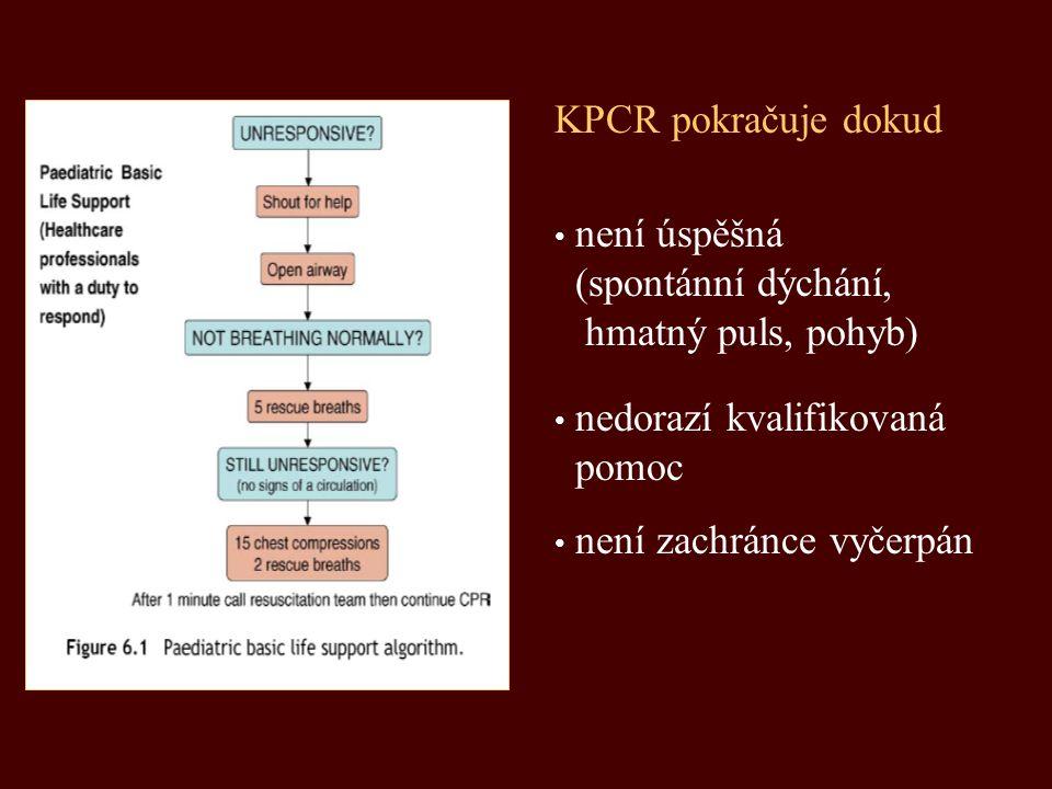 KPCR pokračuje dokud není úspěšná. (spontánní dýchání, hmatný puls, pohyb) nedorazí kvalifikovaná.