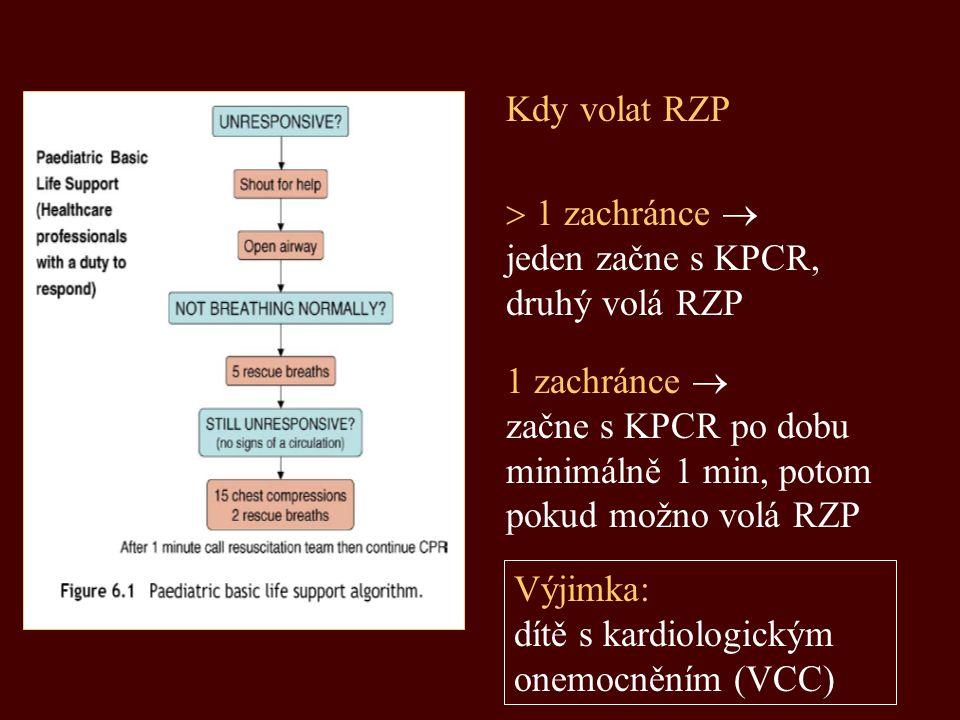Kdy volat RZP  1 zachránce  jeden začne s KPCR, druhý volá RZP. 1 zachránce  začne s KPCR po dobu minimálně 1 min, potom pokud možno volá RZP.