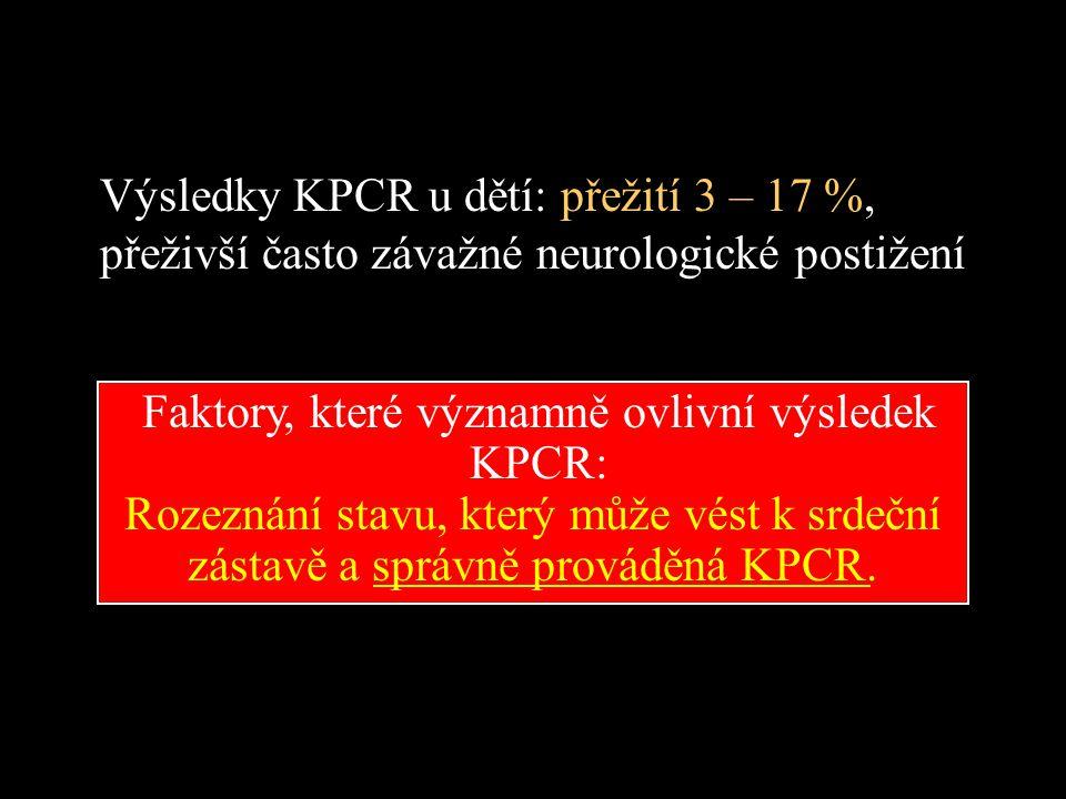 Výsledky KPCR u dětí: přežití 3 – 17 %,