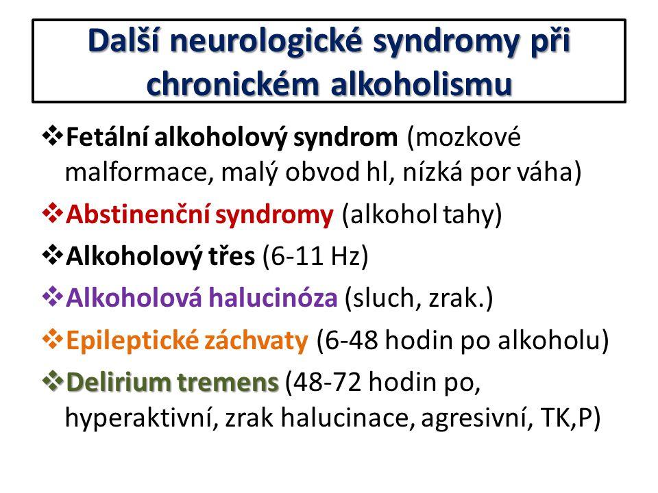 Další neurologické syndromy při chronickém alkoholismu