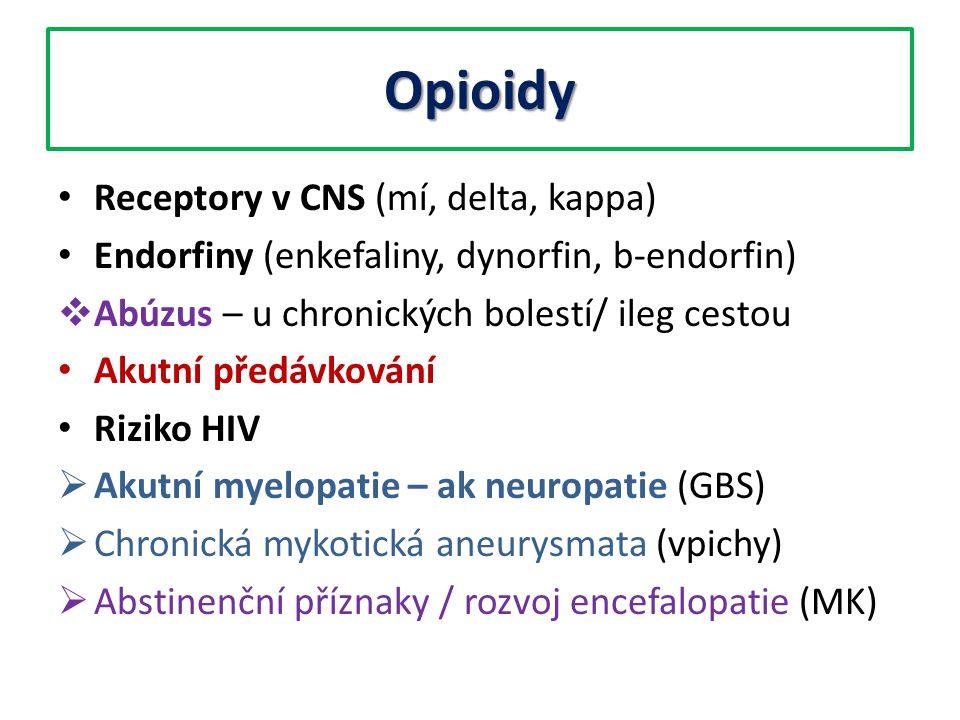 Opioidy Receptory v CNS (mí, delta, kappa)