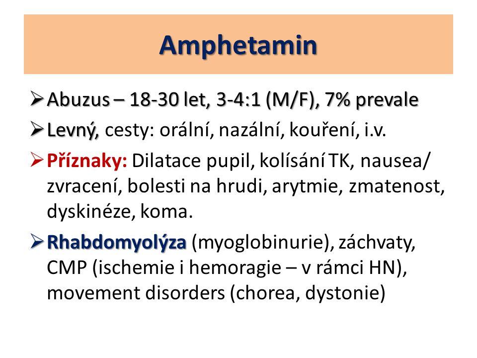 Amphetamin Abuzus – 18-30 let, 3-4:1 (M/F), 7% prevale