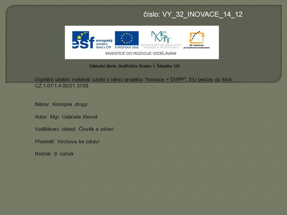 číslo: VY_32_INOVACE_14_12 Základní škola Jindřichův Hradec I, Štítného 121.