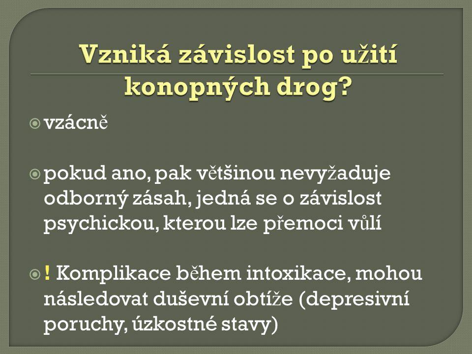 Vzniká závislost po užití konopných drog