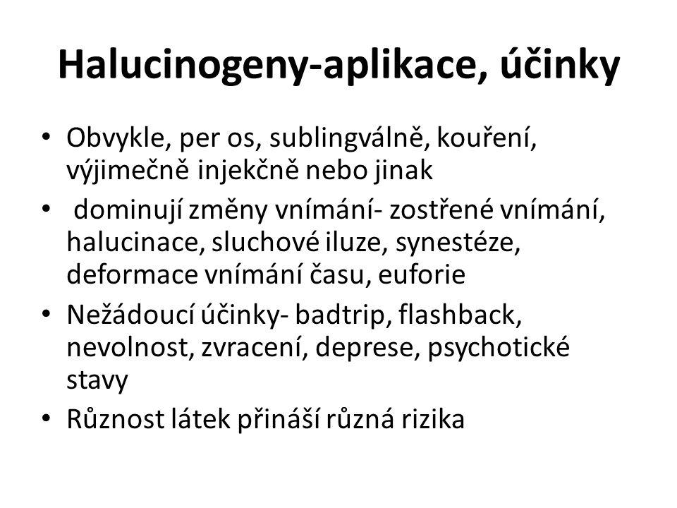 Halucinogeny-aplikace, účinky