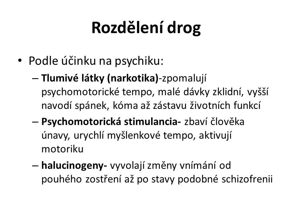 Rozdělení drog Podle účinku na psychiku: