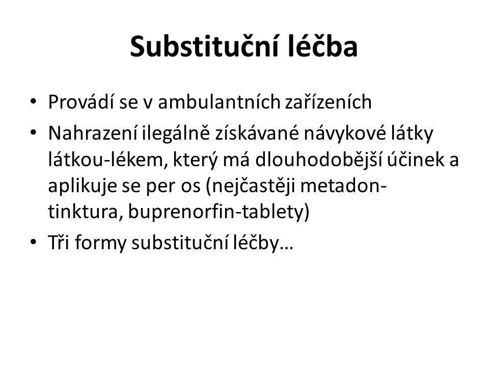 Substituční léčba Provádí se v ambulantních zařízeních