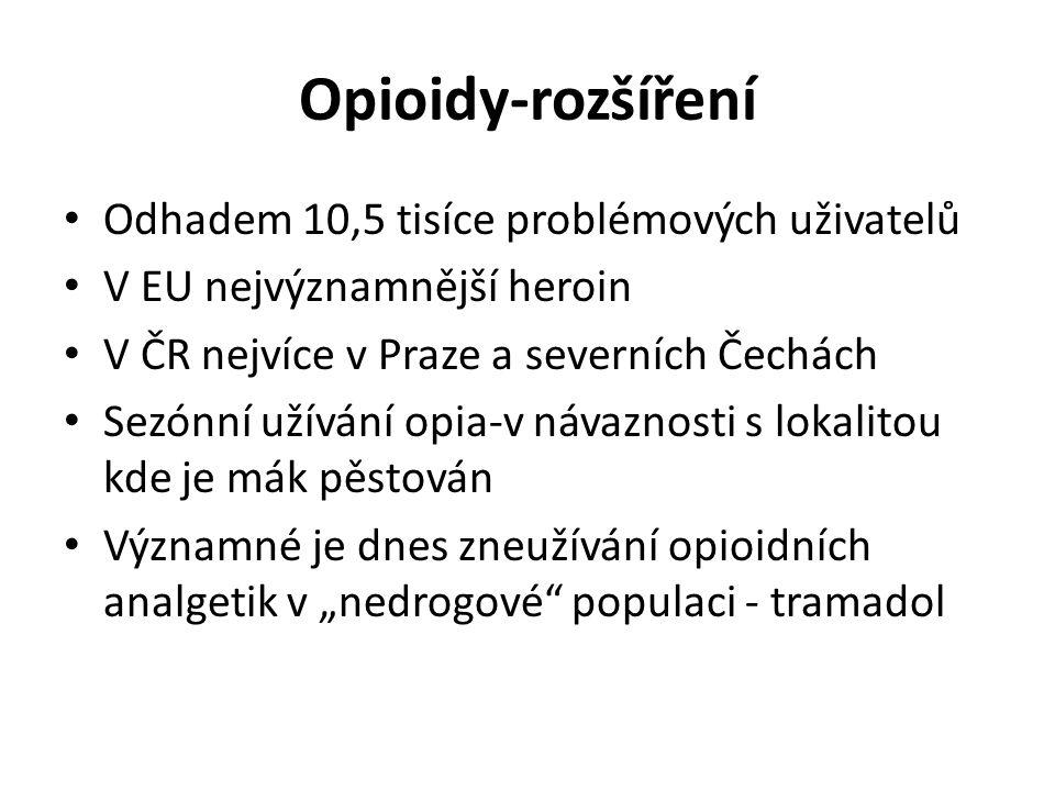 Opioidy-rozšíření Odhadem 10,5 tisíce problémových uživatelů