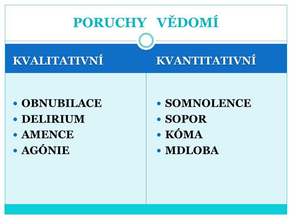PORUCHY VĚDOMÍ KVALITATIVNÍ KVANTITATIVNÍ OBNUBILACE DELIRIUM AMENCE