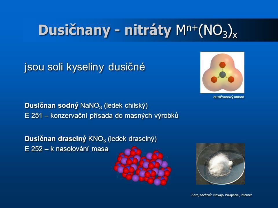 Dusičnany - nitráty Mn+(NO3)x