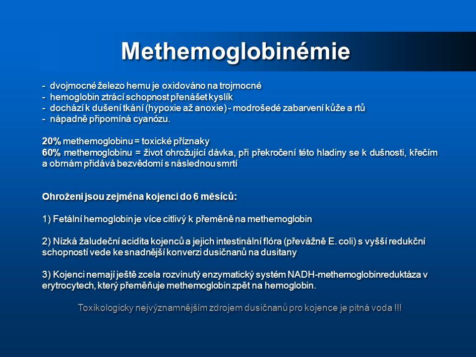 Methemoglobinémie dvojmocné železo hemu je oxidováno na trojmocné