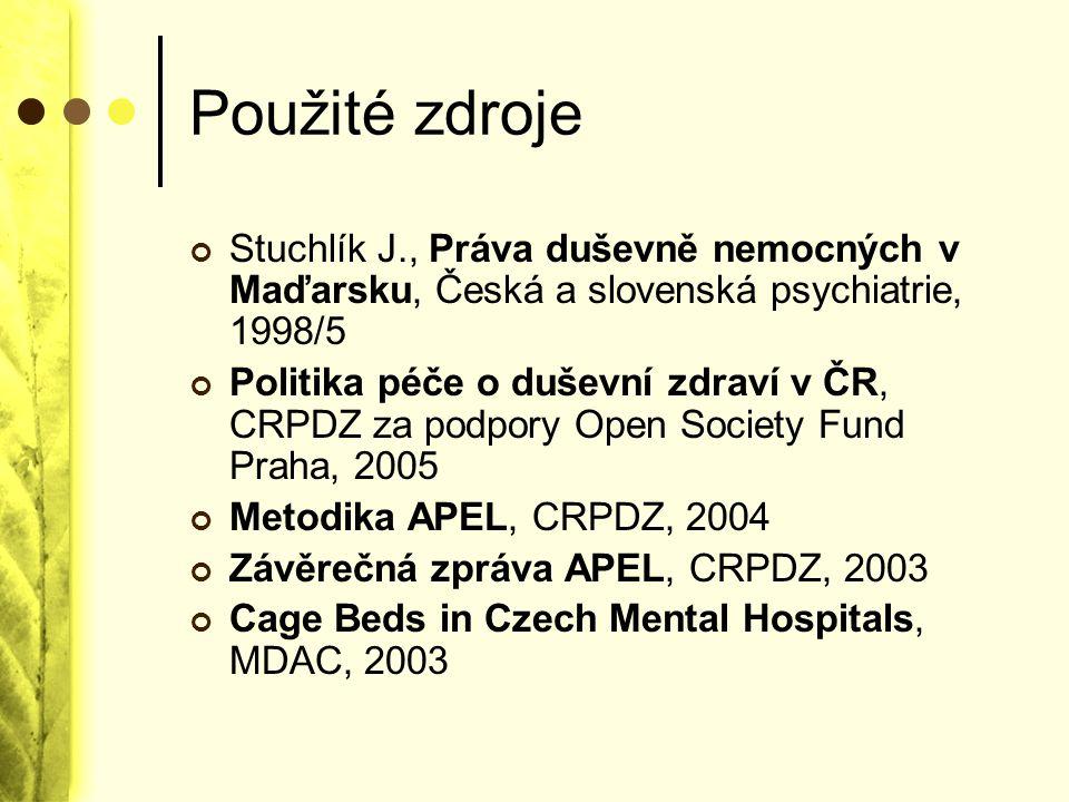 Použité zdroje Stuchlík J., Práva duševně nemocných v Maďarsku, Česká a slovenská psychiatrie, 1998/5.