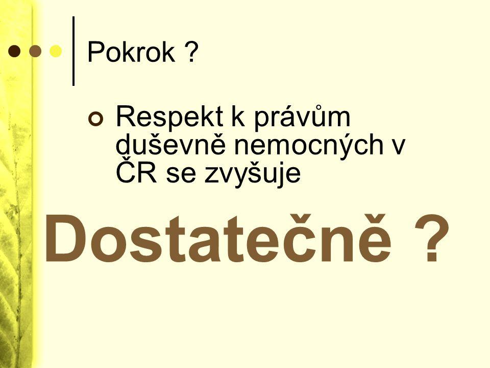 Dostatečně Respekt k právům duševně nemocných v ČR se zvyšuje