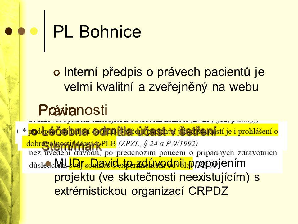 PL Bohnice Práva Povinnosti