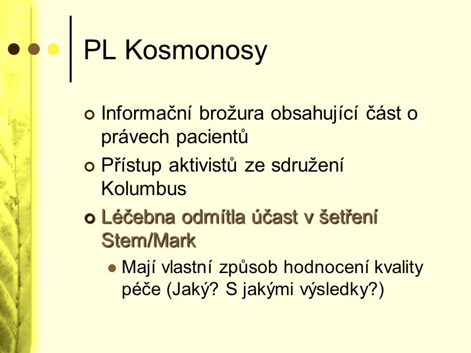 PL Kosmonosy Informační brožura obsahující část o právech pacientů