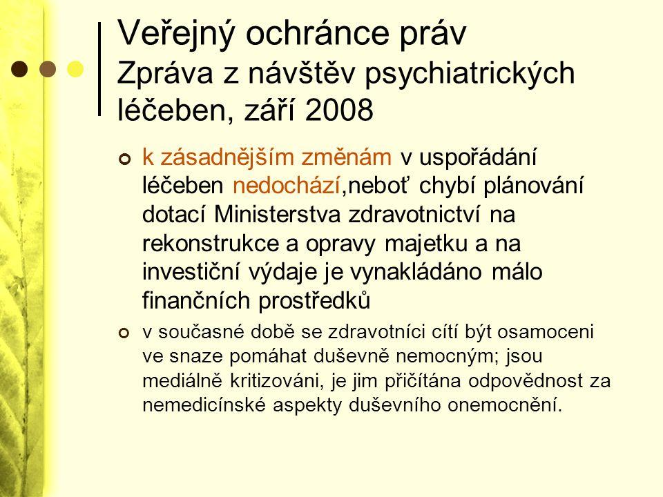 Veřejný ochránce práv Zpráva z návštěv psychiatrických léčeben, září 2008