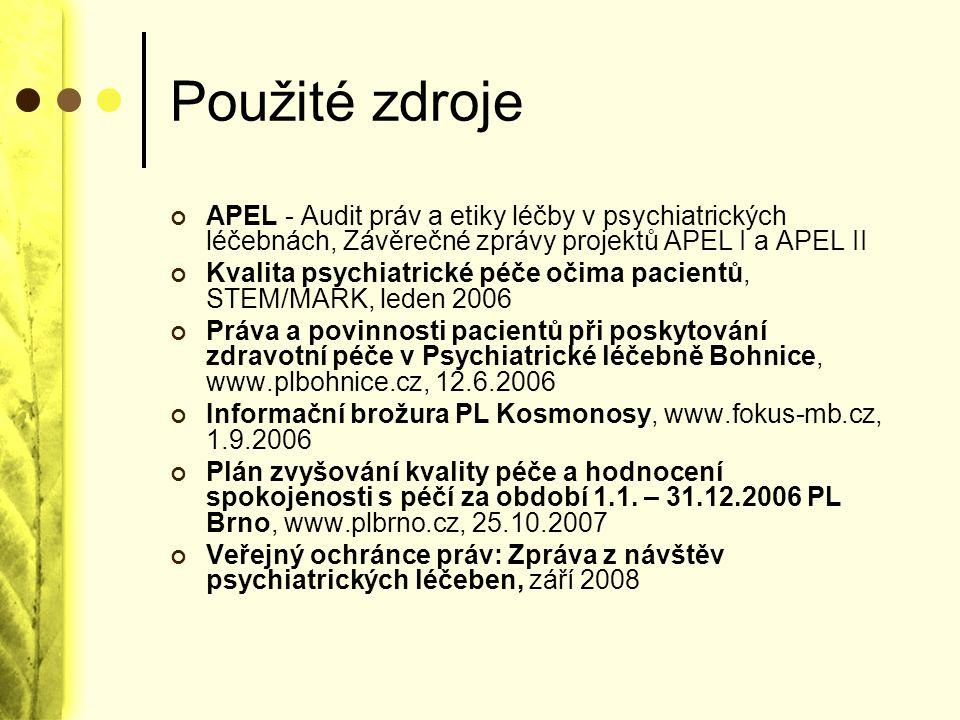 Použité zdroje APEL - Audit práv a etiky léčby v psychiatrických léčebnách, Závěrečné zprávy projektů APEL I a APEL II.
